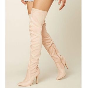 Thigh high pointed toe suede boots